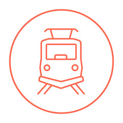 Front view of train line icon.