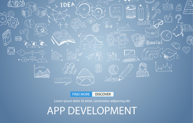 App Development Concept Background with Doodle design style :user interfaces,