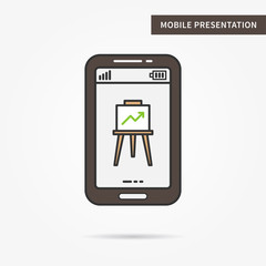 Linear mobile presentation app. Flat phone graph chart app. Mobile web powerpoint presentation technology symbol. Creative mobile slide diagram graphic design. Vector infochart software illustration.