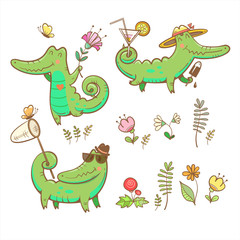Cartoon crocodiles set. Summer time. Butterflies and flowers. Ice cream and cocktails. Vector image.