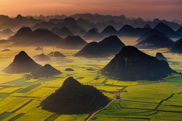 Landscape of Golden rooster hill:Luoping,Yunnan,China Wall mural