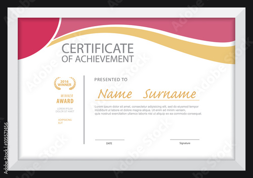 Certificate Template Diploma Layout A4 Size Vector Stock Image And