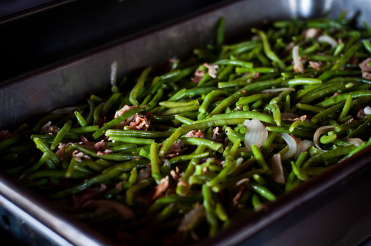 Country style green beans in catering dish
