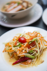 green papaya salad on dish