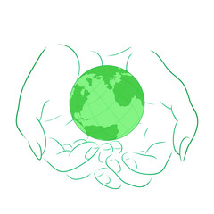 Vector illustration with the outline of female hands with planet