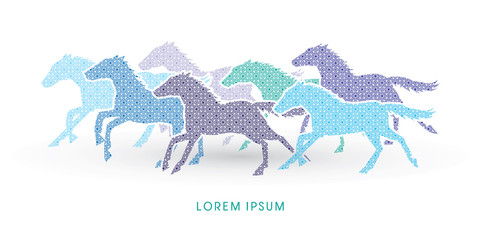 7 horses running, designed using luxury geometric pattern graphic vector.