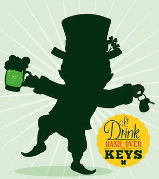 Driver Reminder Safety with Leprechaun Silhouette, Vector Illustration