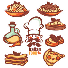 Italian menu, vector collection of food symbol and icons in cart