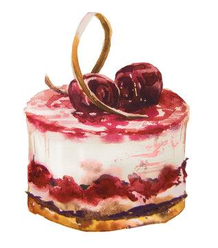 watercolor sweet cake