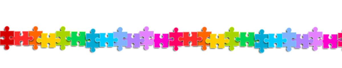 Banner Band Regenbogen puzzle reihe Verbindung teile elemente