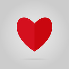 Red heart with shadow vector