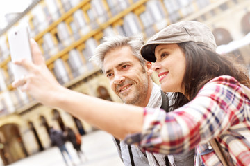 Couple in Spain making selfie picture