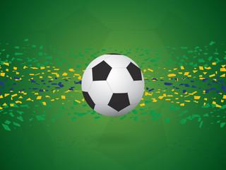 Vector Football / Soccer Background in Brazil Flag Concept.