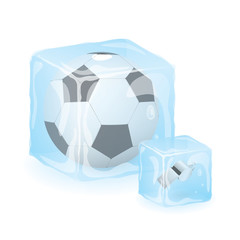 High Quality Isolated Football / Soccer Ball And Referee Whistle In Ice Cub