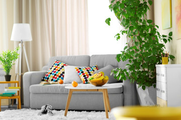 Living room interior with sofa, table and green tree