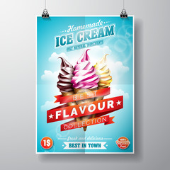 Vector delicious Ice Cream Flyer Design on sky background.