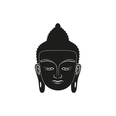Head of Buddha. Vector illustration isolated on white