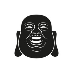 Head of Fat Buddha. Vector illustration isolated on white