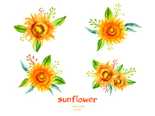 Sunflower watercolor illustration isolated on white, Vector floral branch, bouquet design with sunflower and leaves, Can be used for banner, cards, invitations etc