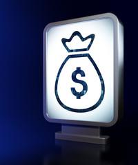 Currency concept: Money Bag on billboard background