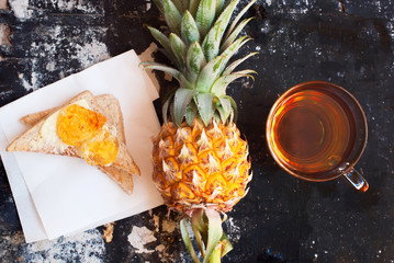Pine Apple Fruit Toast Topped Jam Tea Diet