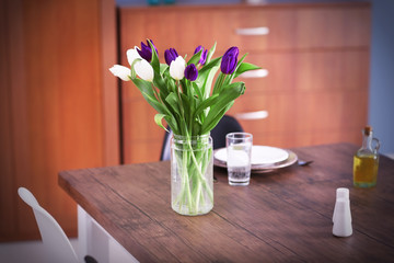 Beautiful bouquet of tulips on the table, close up