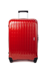 red carbon suitcase isolated on white