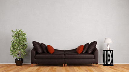 Couch aus Leder vor Wand im Wohnzimmer