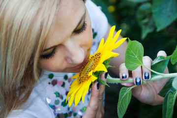 young woman in sunflower
