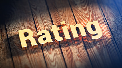 Word Rating on wood planks