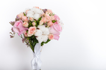 Close up of flower bouquet on white background