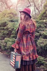 Beautiful woman in a vintage clothing