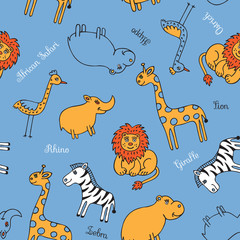 Seamless pattern animal Safari