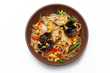 Asian egg noodles with vegetables, mushrooms, green onions and c