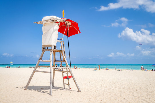 lifeguard tower protecting the safety of tourist on the beach at Playa del Carmen, Mexico