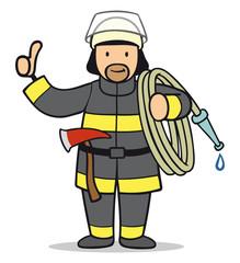 Cartoon Mann von Feuerwehr hält Daumen hoch