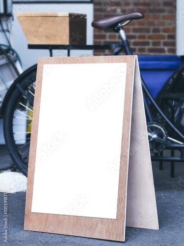 signboard stand mock up poster frame flea market shop front