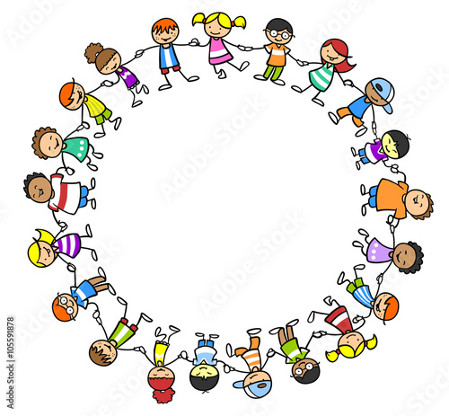 Kinderkreis clipart  Multikulturelle Kinder lachen im Kreis