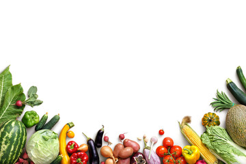 Healthy eating background. Food photography different fruits and vegetables isolated white background. Copy space. High resolution product