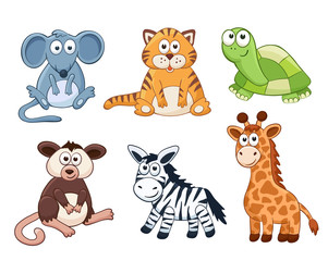 Cute cartoon animals isolated on white background. Stuffed toys set. Vector illustration of adorable plush baby animals. Mouse, tiger, turtle, opossum, zebra, giraffe.