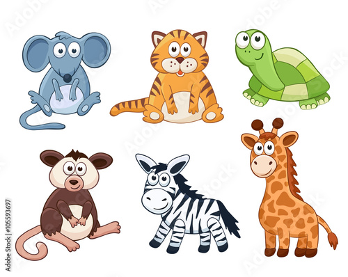 Cute cartoon animals isolated on white background stuffed toys cute cartoon animals isolated on white background stuffed toys set vector illustration of adorable voltagebd Images