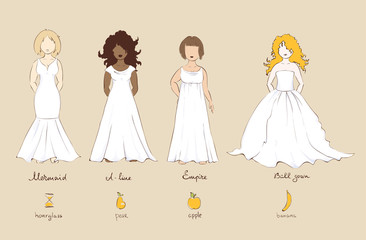 Wedding dress and female types of figures, vector illustration.