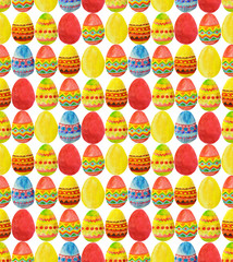 Seamless pattern with colorful watercolor Easter Eggs