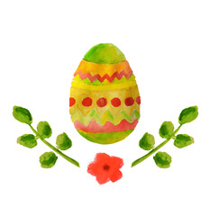 Colorful watercolor Easter egg, green leaves and little red flower