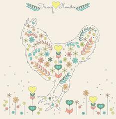 vector vintage style fancy flower design roosters