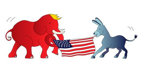 American Presidential Elections - The Democratic donkey vs the Republican elephant