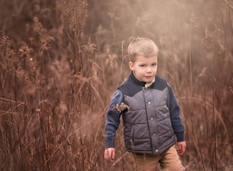 outdoor portrait of a young boy