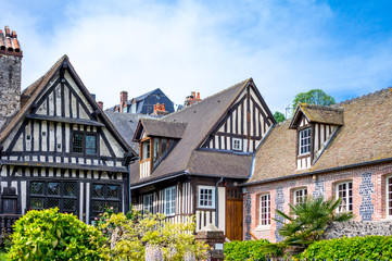 France, Normandy, Honfleur, the houses of the old city center. Fototapete