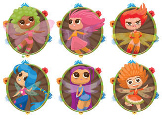 Vector image of a set of round green-brown frames with colorful flowers and with cartoon images of a cute female fairies with big eyes, long colored hair on a white background. Vector illustration.