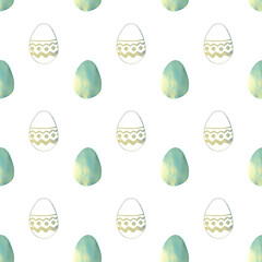 Seamless pattern with blue pearly Easter eggs on white background
